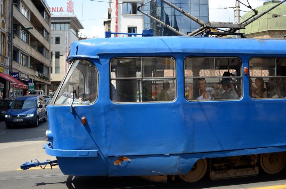 Blue Sarajevo lightrail..