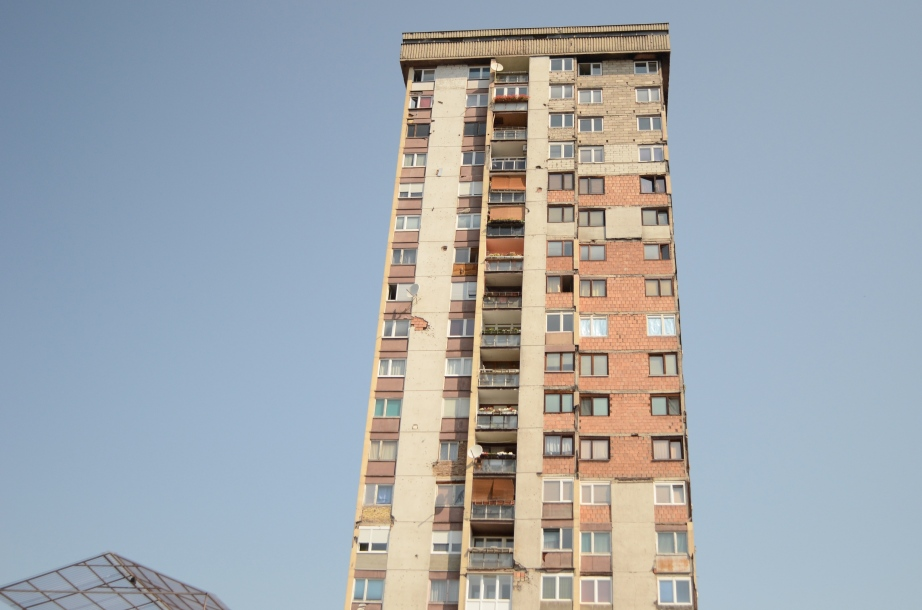 Mortar scarred highrise in Sarajevo..